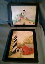 Set of 2 Framed Hand Painted Lighthouses on Ceramic