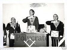 Francs maçons maçonnerie Vénérable Maître Loge - photo ancienne NB an. 1960