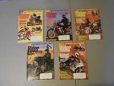 LOT OF 5 1994/1995 RIDER MAGAZINES,MOTORCYCLES,INDIANS,DUCATIS,MOTO GUZZI,HARLEY