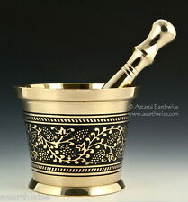 CARVED BRASS MORTAR & PESTLE SET 80 mm Wicca Witch Pagan HEAVY QUALITY - HERBS