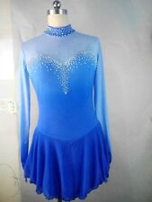 figure skating dress blue girls ice silk clothing custom for competition