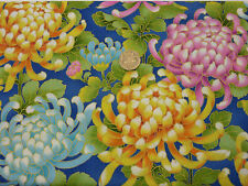 Quilting Fabric Pink Yellow Turquoise Chrysanthemums 100% Cotton Fat Quarter