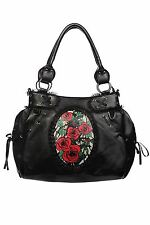 Banned Rose Cameo Black Shoulder Bag