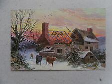 c1904 Comic Postcard Raphael Tuck Oilette 'Winter Scenes' No. 9006 Burnt Cottage