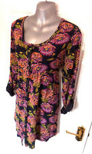 ❤ FAT FACE Gorgeous Ladies Size 16 Navy Pink Orange Mix Stretch Button Up Dress