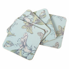 Set of 4 Square Cork Coasters Drinks Mats Blue Vintage Floral Shabby Chic Lily