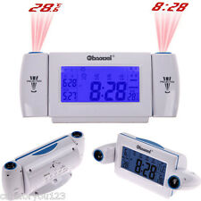 Digital LCD Snooze Dual Projection Alarm Clock Clapping Voice Controlled #Cu3