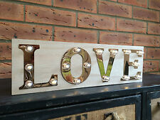 Love Wooden Light Up Sign Carnival Display Plaque Vintage Wedding Decoration