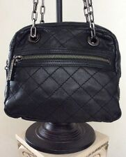 "TORY BURCH ""Nice""  Small Black Quilted Leather Chain Strap Shoulder Handbag"