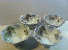 SET 4 ANTIQUE SILESIA BERRY BOWLS Purple Liliacs LUSTER WARE Poland  Nut VINTAGE