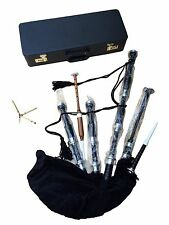 PROFESSIONAL SCOTTISH HIGHLAND BLACK BAGPIPE FNS MOUNTS FREE CHANTER HARD BOX