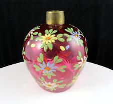 """ANTIQUE ART GLASS CRANBERRY COIN SPOT THUMBPRINT ENAMEL FLORAL 4"""" OIL CANDLE"""