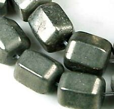 10mm Gold Pyrite Faceted Barrel Cylinder Beads (20)