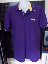 SLAZENGER MENS POLYESTER COLLARED POLO SHIRTS  PURPLE/YELLOW NO PATTERN SIZE S