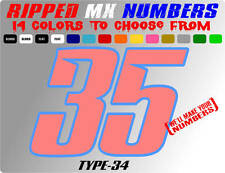 RIPPED 2 COLOR MX NUMBER PLATE DECALS STICKERS SUPERCROSS RACE CAR DIRTBIKE SX