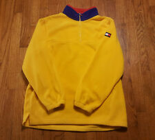 Tommy Hilfiger Yellow fleece 1/4 zip Pullover LARGE Flag Logo VTG blue collar