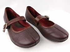BORN Women's Dark Brown Leather Slip On Mary Janes Flats Shoes Size 8.5 **VGUC**