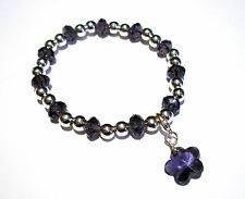 'AAA' GRADE PURPLE CRYSTAL GLASS BEADED STRETCH FLOWER CLIP CHARM BRACELET