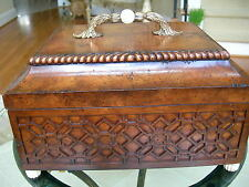 Theodore Alexander Ash Burl Veneer with Fretwork Carving Decorative Box