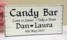 Wedding Candy Bar Sweet Table Sign Personalised Shabby Vintage Free Standing