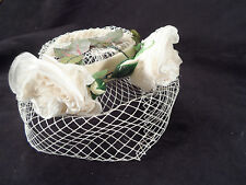 Vintage White Halo Fascinator Hat w/ Netting and Gorgeous Millinery Flowers