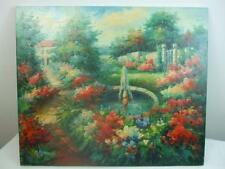 "Vintage Impressionist Oil Painting Garden Water Fountain Unframed Canvas 20""x24"""
