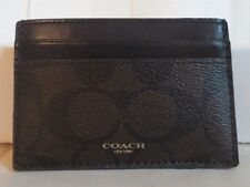 Coach Mens Bleecker Slim ID Card Case Wallet Mahogany Brown PVC Leather New