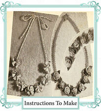 Vintage crochet pattern-how to make these 2 pretty  flower necklaces,jewellery