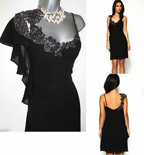 KAREN MILLEN Black Silk With Grey Lace Beaded Tunic Dress UK 10 EU 38 £165 DJ109