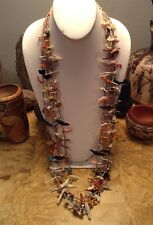 "Huge 39"" 4 Strand Zuni Fetish Necklace Sterling Heshi Turquoise Shell Coral Onyx"