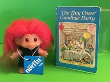 """Rare Tiny Ones Goodbye Party Book W/ 3"""" Norfin Dam Troll Doll W/Tag #502 -1984"""