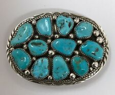 Native American Sterling Silver Navajo Handmade Turquoise Belt Buckle