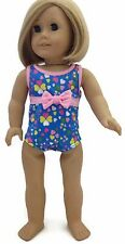 "Blue Print Swimsuit with Pink Bow made to fit 18"" American Girl Doll Clothes"