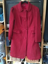 LADIES Ribbed RED PURE WOOL COAT, 14 3/4 Length Smart From Wrap
