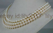 AAAA+ New6.5-7mm round white cream akoya sea pearl necklace 50""