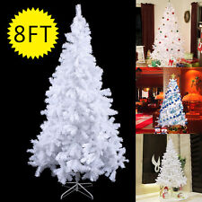 8Ft Artificial PVC Christmas Tree W/Stand Holiday Season Indoor Outdoor Whi