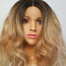 Synthetic Curly Lace Front Hand Tied Ombre Wig Brown Roots/Honey Blonde 20""