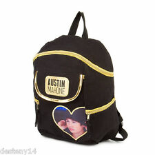 Austin Mahone Black & Gold Canvas Backpack Bookbag Heart Photo AM Mahomie