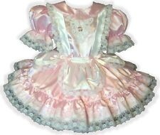 """Leandra"" Custom Fit PINK Satin Pinafore Adult Baby LG Sissy Dress LEANNE"