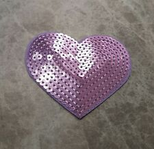 HEART VALENTINES SEQUIN PURPLE IRON ON SEW ON PATCH BADGE