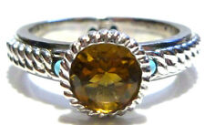SIZE 10 ATELIER STERLING SILVER TURQUOISE CABOCHON & CITRINE STACKABLE RING BAND