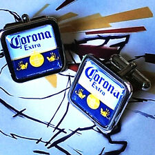 Unique! CORONA EXTRA CUFFLINKS chrome CHROME cool LAGER pub BEER designer