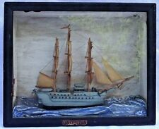 "Antique U.S.S. ""Constitution"" Hand Made Model Ship Cased Diorama"