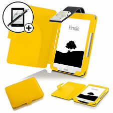 Leather Yellow Case Cover with LED Light Amazon Kindle 2016 Screen Prot Stylus
