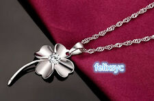 NEW Fashion women Clover jewelry 925 sterling silver necklace UK love gift