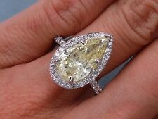 4.01 CARATS CT TW PEAR SHAPE DIAMOND ENGAGEMENT RING FANCY YELLOW SI2