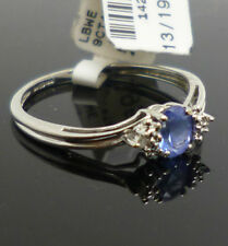 9ct white gold tanzanite & diamond dress ring with full British hallmark