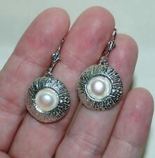 QVC OR PAZ ISRAEL 925 Sterling Silver Pearl Textured Leverback Round Earrings