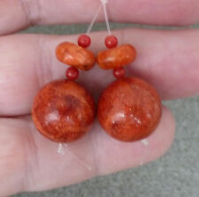 Red Sponge Coral Bead Pair for Potential Earrings, 13½ mm