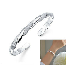 Fashion Women's Silver Plated Stripe Elegant Jewelry Chain Cuff Bracelet Bangle